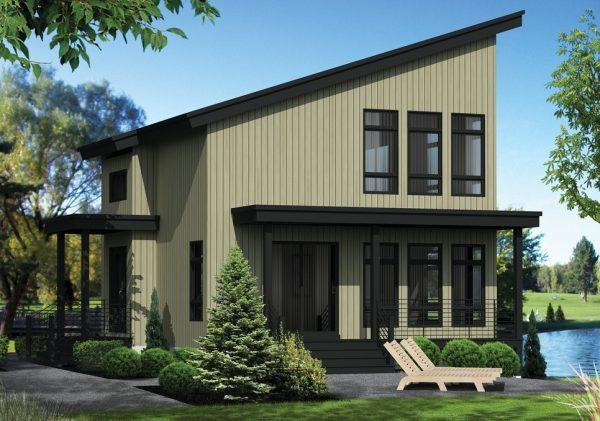Casa moderna de 2 dormitorios en 2 pisos planos de casas 3d for Casa clasica 2 dormitorios techo inclinado