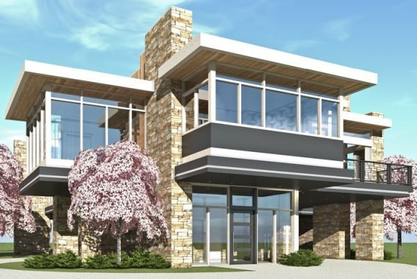 Casa moderna de dos plantas planos de casas 3d for Disenos de casas de dos plantas