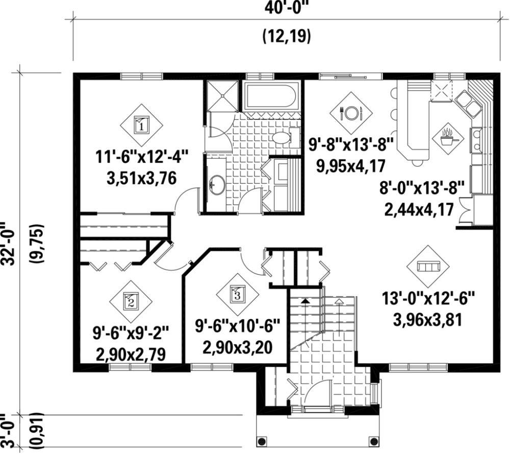 Plano de casa cl sica de 3 dormitorios planos de casas 3d for Casa procrear clasica techo inclinado 3 dormitorios