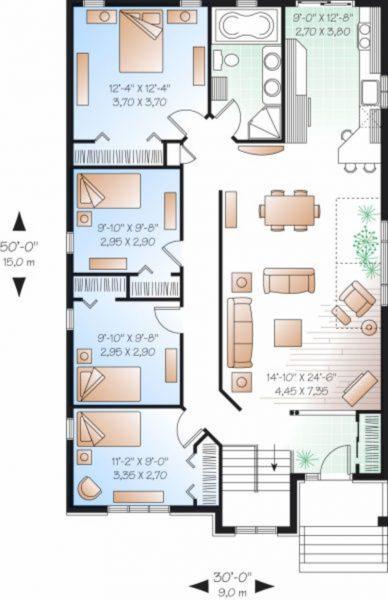 Casa europea de 4 dormitorios en 1 planta planos de casas 3d for Planos de casas de una planta 4 dormitorios