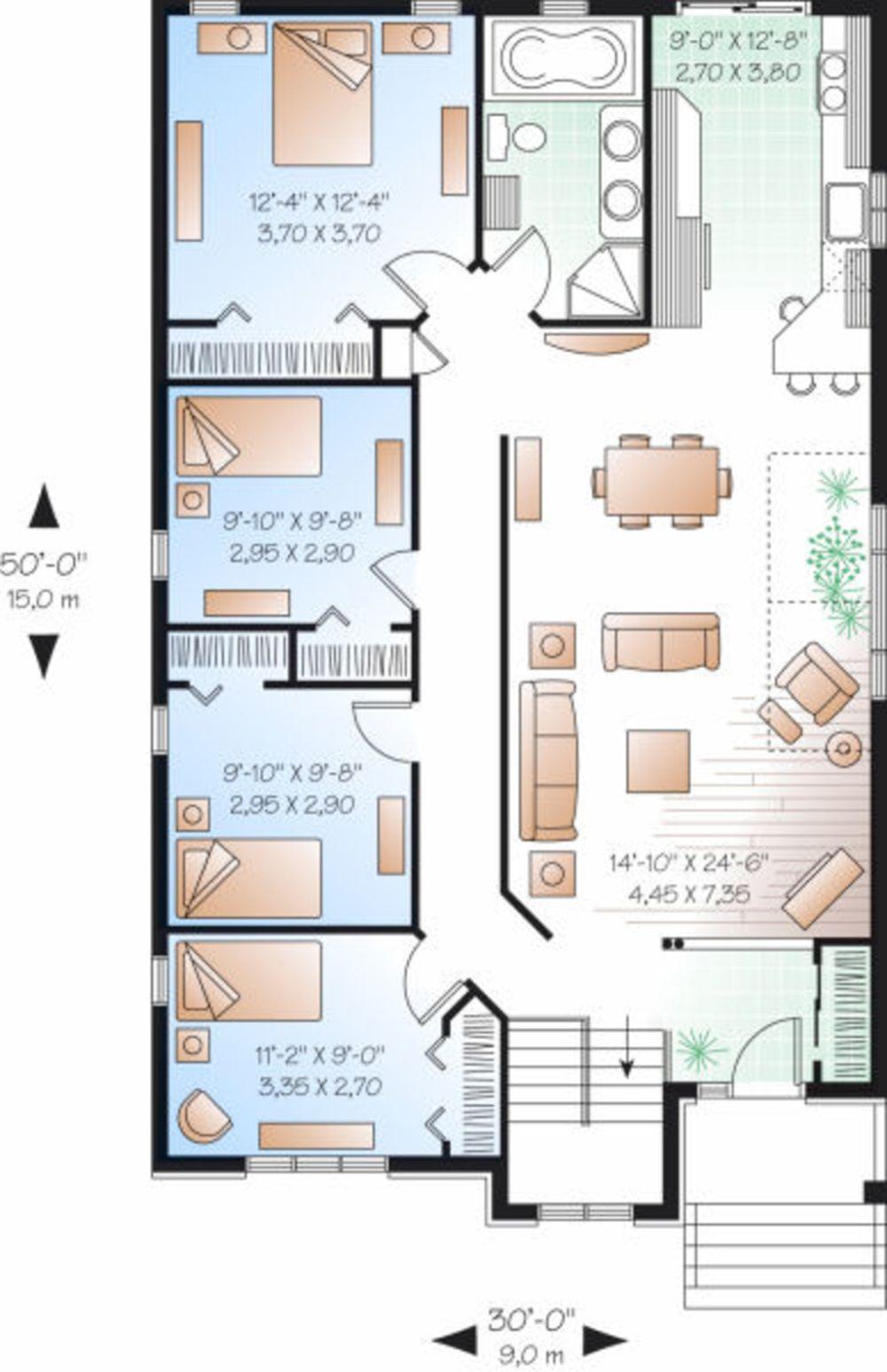 Plano de casa europea de 4 dormitorios en 1 planta for Casa procrear clasica techo inclinado 3 dormitorios