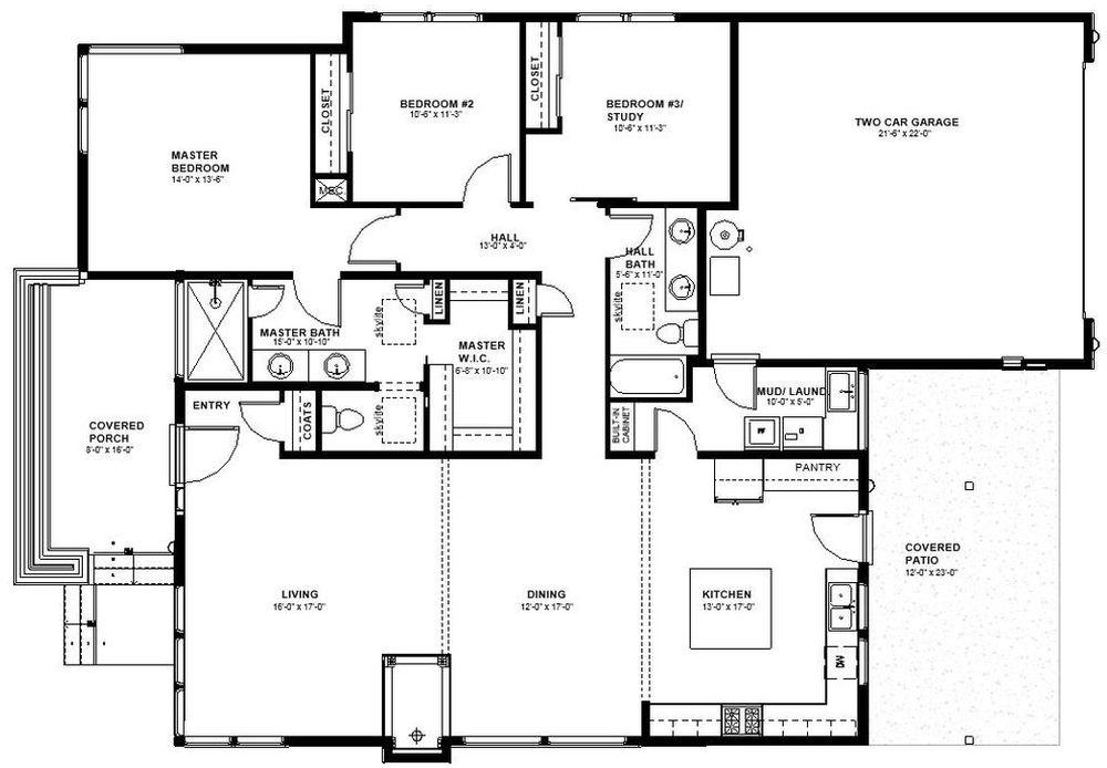 Plano De Moderna Casa De 3 Dormitorios En 1 Piso Planos De Casas 3d - Planos-de-pisos-de-3-dormitorios