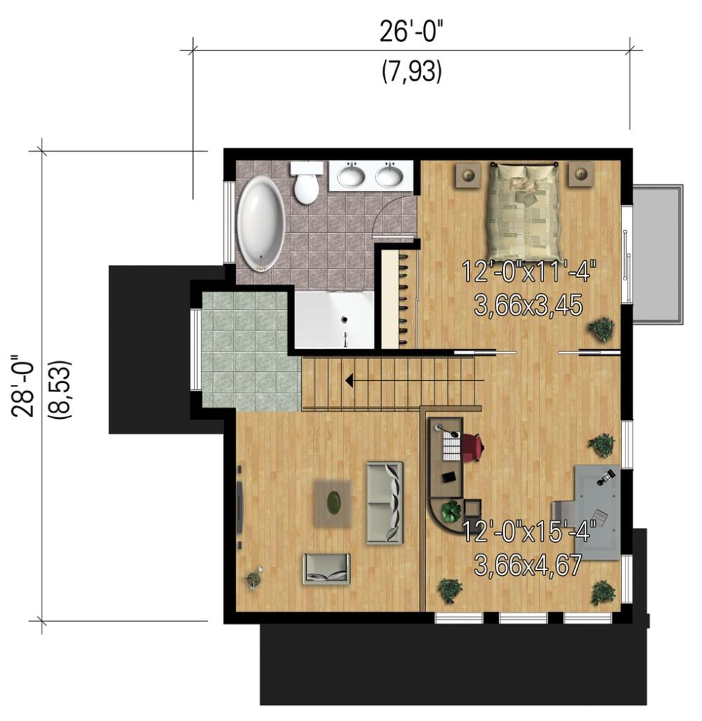 Plano planta alta de casa moderna de 2 dormitorios en 2 for Plano casa moderna 5 dormitorios