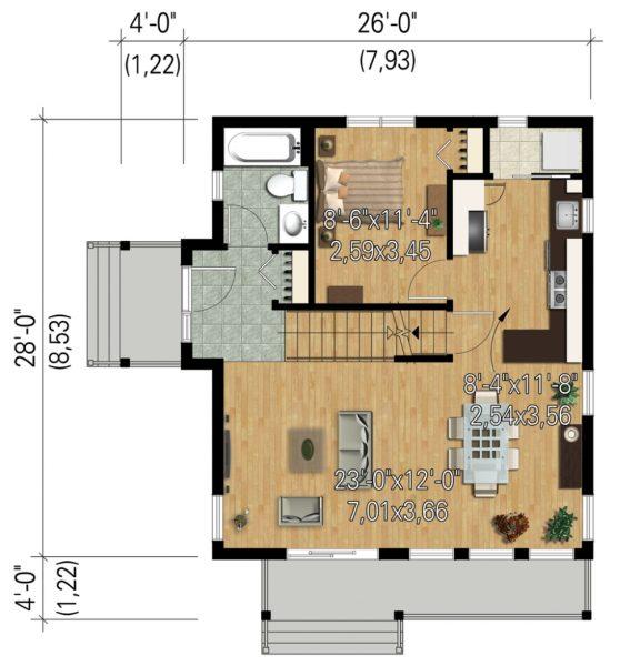 Casa moderna de 2 dormitorios en 2 pisos planos de casas 3d for Diseno casa planta baja