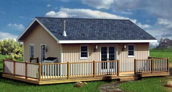 Dise o de casa de dos dormitorios con techo a dos aguas for Casa moderna a dos aguas