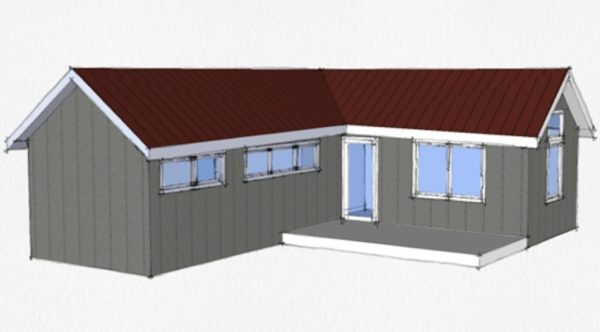 Casa peque a en forma de l planos de casas 3d for Fotos de casas en forma de l