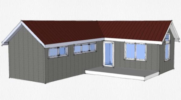 Casa peque a en forma de l planos de casas 3d for Casa moderna l