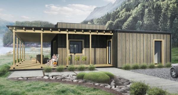 Dise o de casa r stica de 2 dormitorios planos de casas 3d for Casa clasica 2 dormitorios techo inclinado