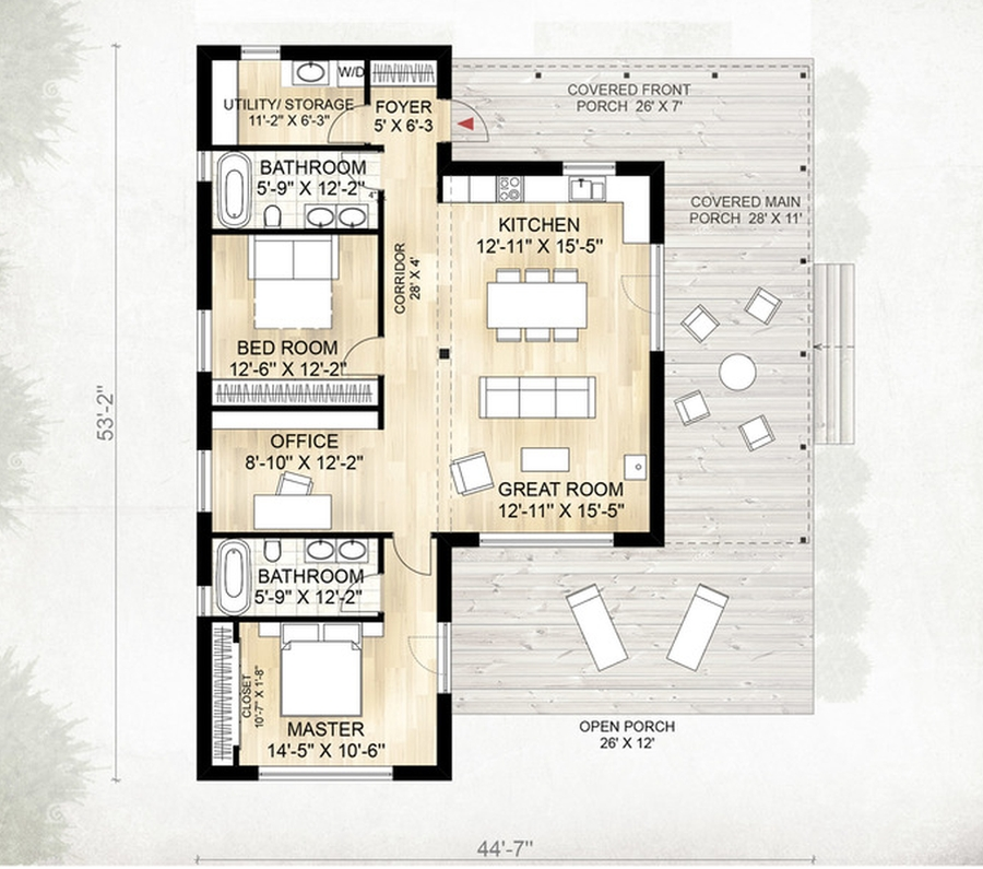 Plano de casa r stica de 2 dormitorios planos de casas 3d for Casa clasica 2 dormitorios techo inclinado
