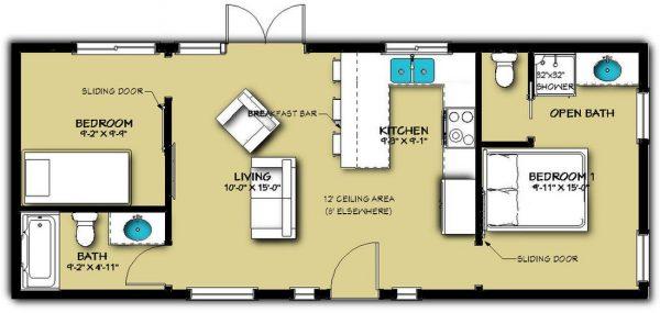Casa sencilla y econ mica de 2 dormitorios planos de for Plano de cocina sencilla