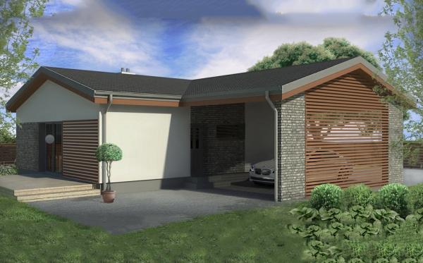 Casa moderna de dos dormitorios planos de casas 3d for Planos de casas modernas en 3d