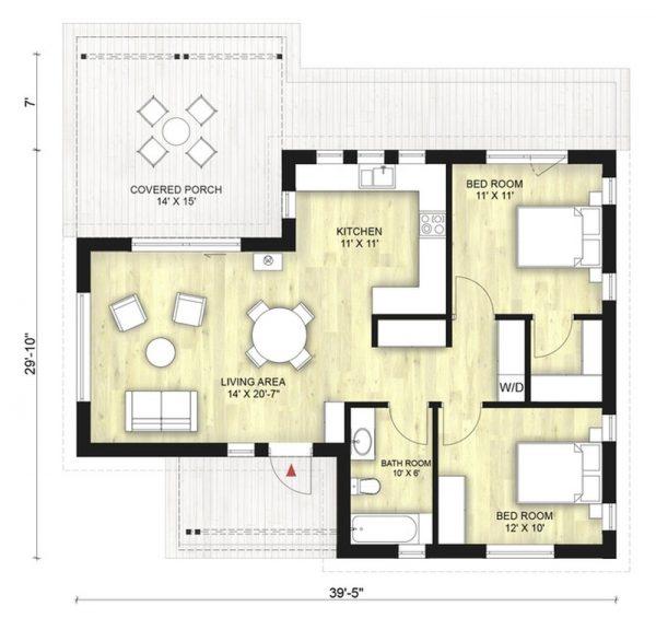 Casa peque a de dos dormitorios planos de casas 3d for Casa moderna 5 dormitorios