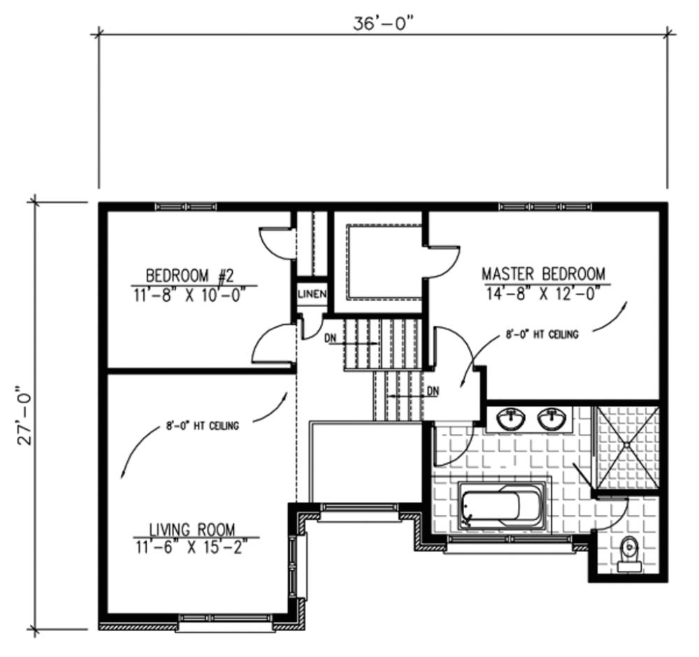 Plano planta alta de casa moderna de dos pisos con dos for Casa clasica 2 dormitorios techo inclinado