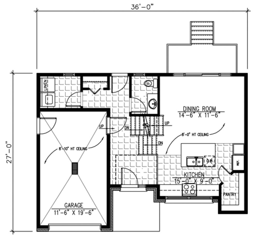 Plano Planta Baja de Casa Moderna de Dos Pisos con Dos Dormitorios ...