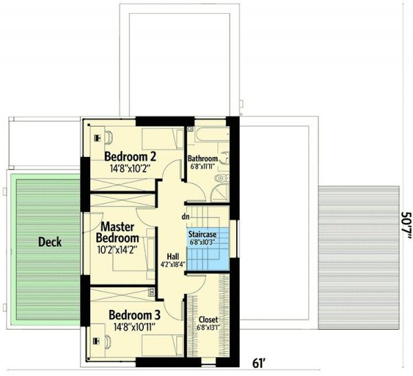 Plano Planta Alta de Casa Moderna de 2 Pisos Simples