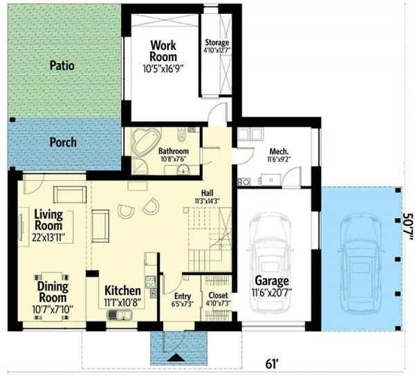 Plano Planta Baja de Casa Moderna de 2 Pisos Simples