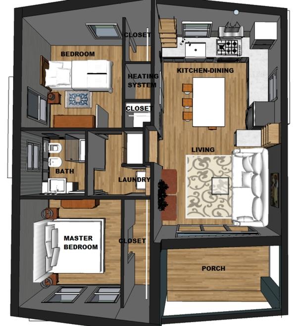 Plano 3d De Casa Contemporanea De Una Planta Planos De