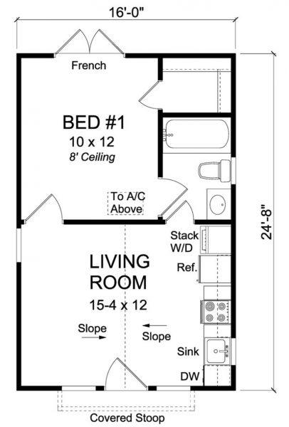 Plano de Casa Clásica Pequeña de 1 Dormitorio
