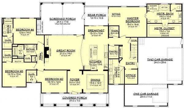 Plano de Casa Country de 4 Dormitorios