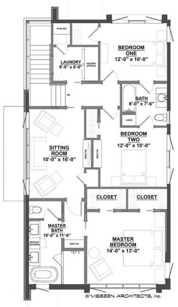 Casa moderna de dos pisos y tres dormitorios planos de for Planos de casas de dos plantas y tres dormitorios