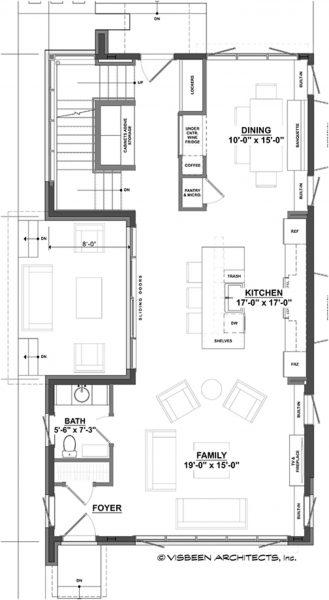 Plano Planta Alta de Casa Moderna de Dos Pisos y Tres Dormitorios