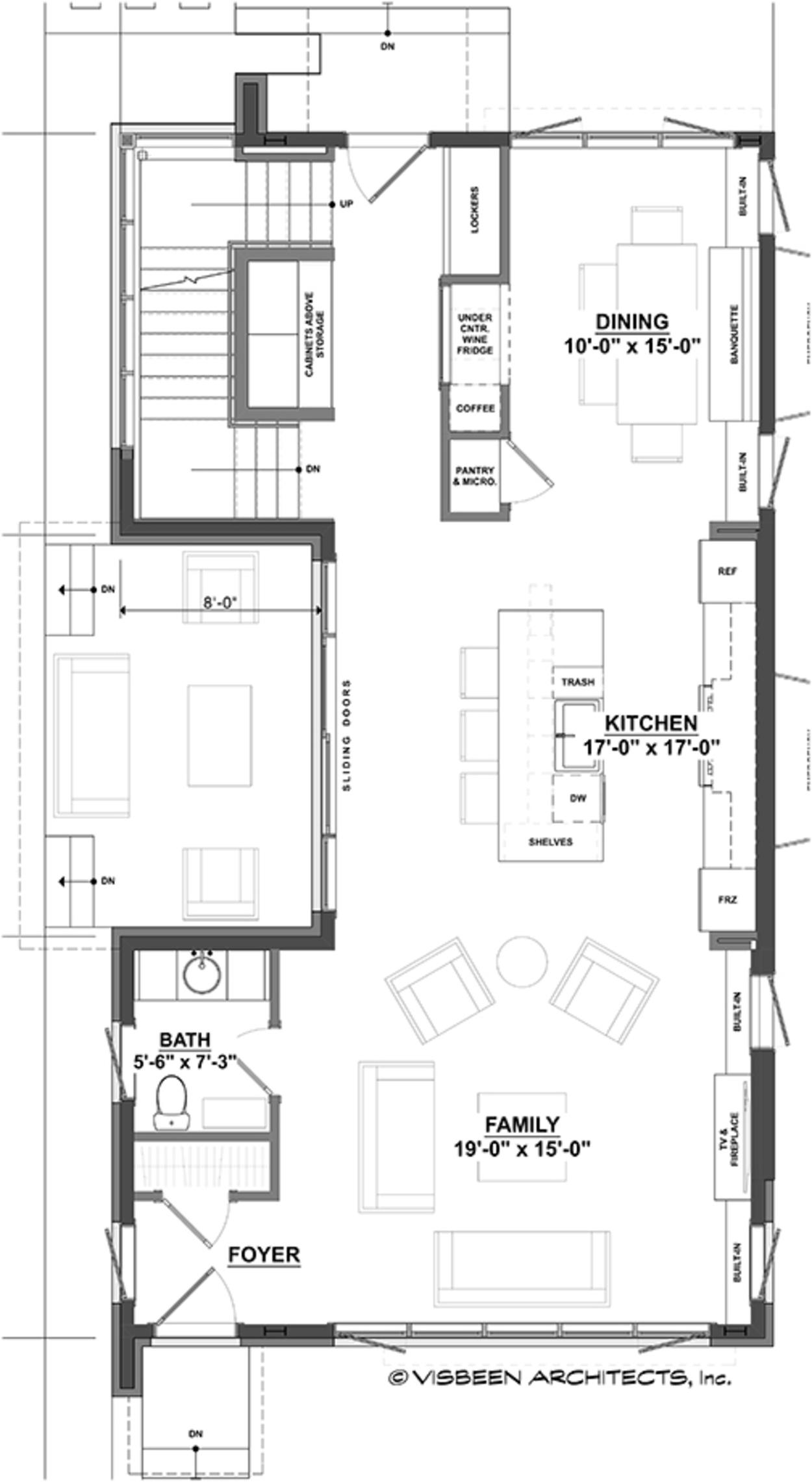 Plano planta alta de casa moderna de dos pisos y tres for Casa moderna 5 dormitorios
