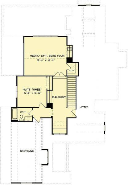 Plano Planta Alta de Casa Estilo Country Francés de 4 Dormitorios