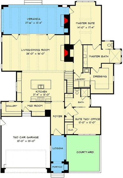 Plano Planta Baja de Casa Estilo Country Francés de 4 Dormitorios