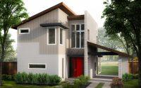 Fachada de Casa Moderna Minimalista de 2 Pisos