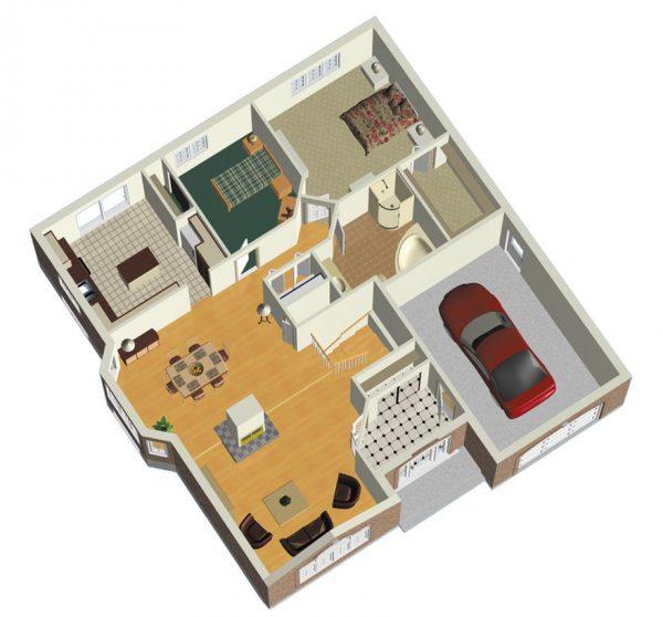 Casa europea 2 dormitorios con ladrillos vistos planos for Plantas de casa adentro
