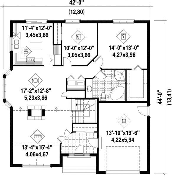 El Plano de la Casa Europea 2 Dormitorios con Ladrillos Vistos