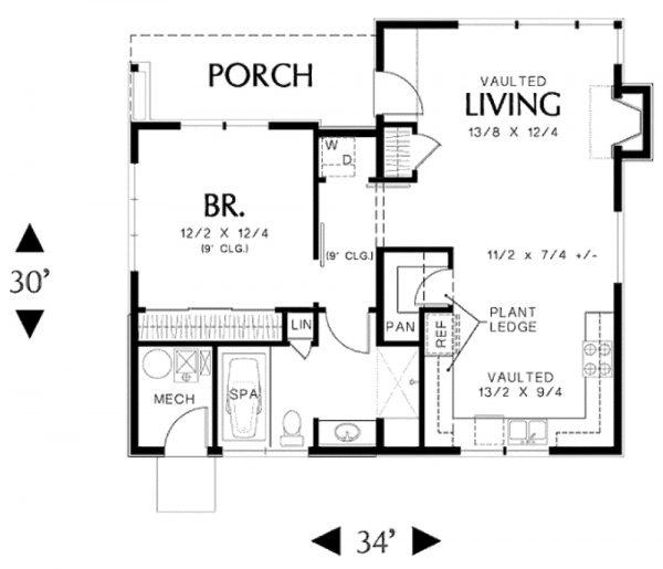 Plano de Casa Moderna de 1 Piso en 83m2